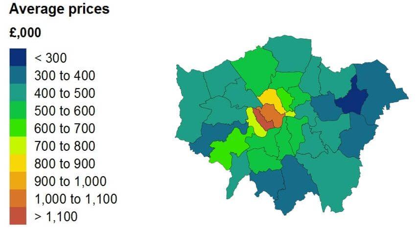 """המחירים הממוצעים של נכסים בכל רובע בלונדון ב-2017. מתוך הדו""""ח של מרשם המקרקעין"""