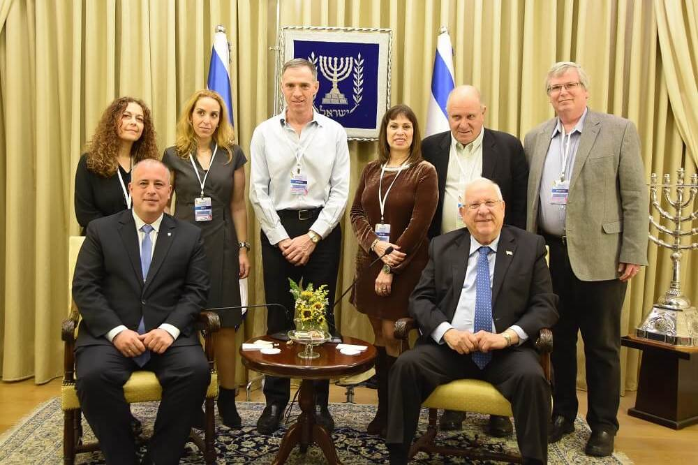 Building bridges. Conference organisers with President Rivlin and Deputy Speaker of the Knesset MK Hilik Bar