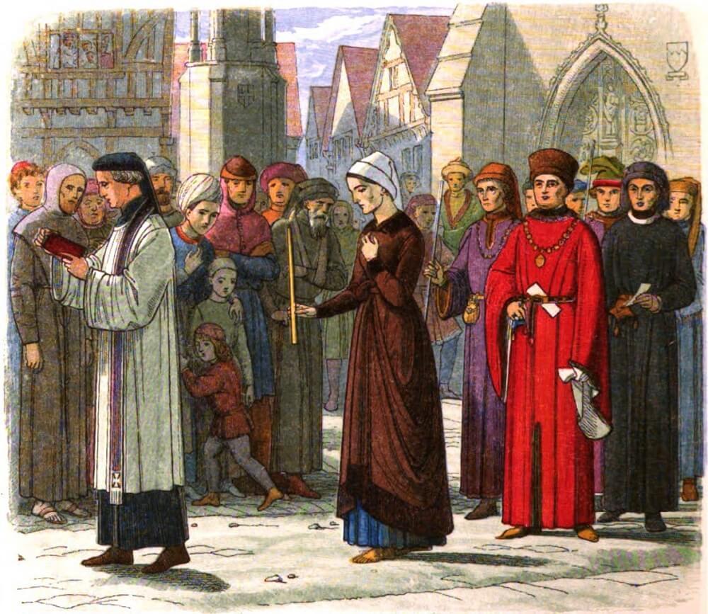 טיולים בטירות באנגליה: נאסרה בטירת לידס אחרי שהואשמה בכישוף ובבגידה בכתר. אלינור קובהאם. איור של ג'יימס וויליאם אדמונד דויל