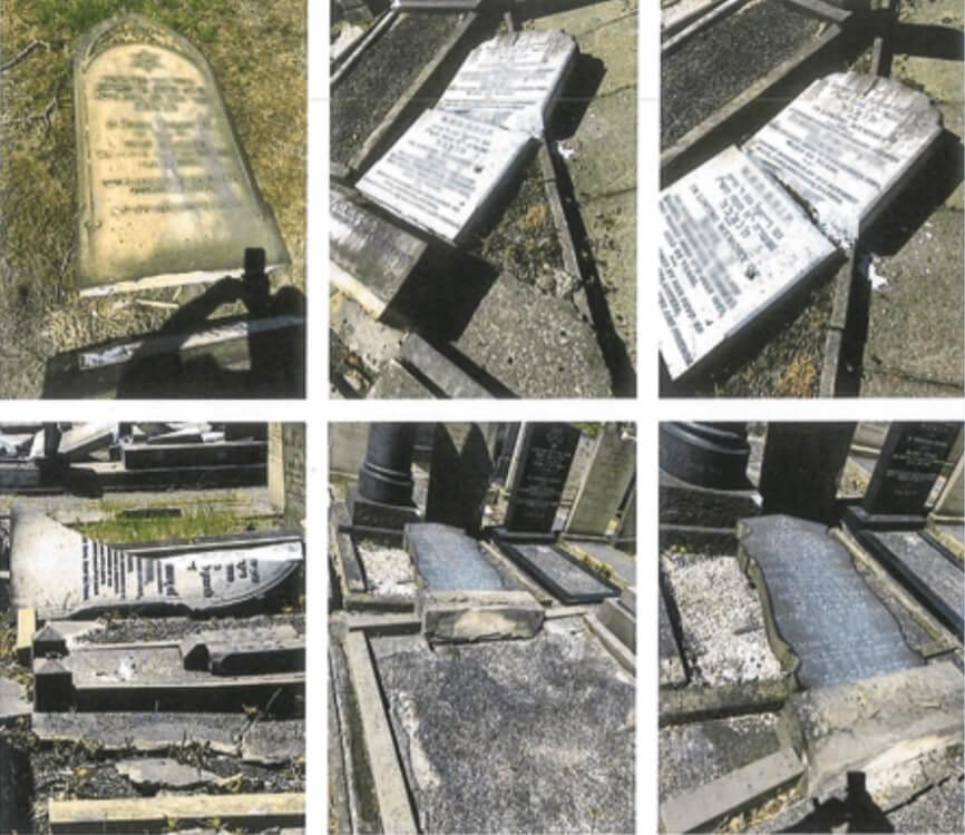אנטישמיות בבריטניה: הרס מצבות יהודיות במנצ'סטר בחודשים מאי ויוני השנה. מתוך הדוח של ה-CST