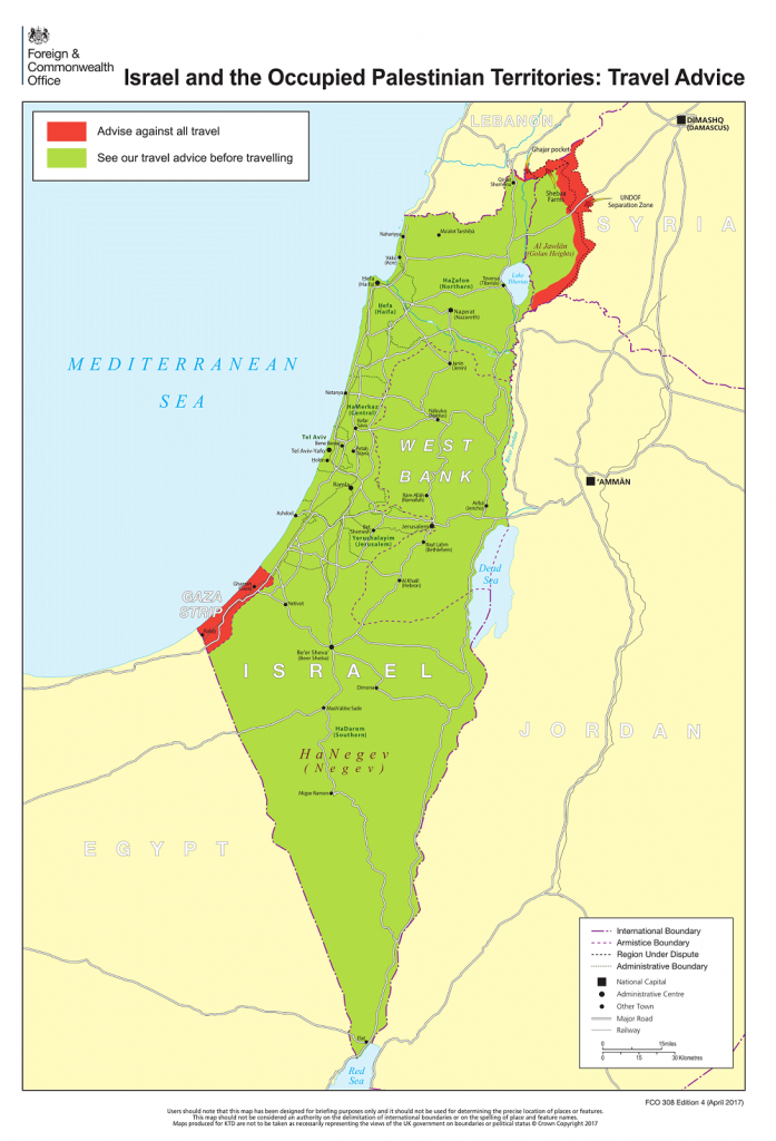 ירושלים לא מוגדרת כעיר הבירה. המפה הנלווית לאזהרות המסע של בריטניה לישראל