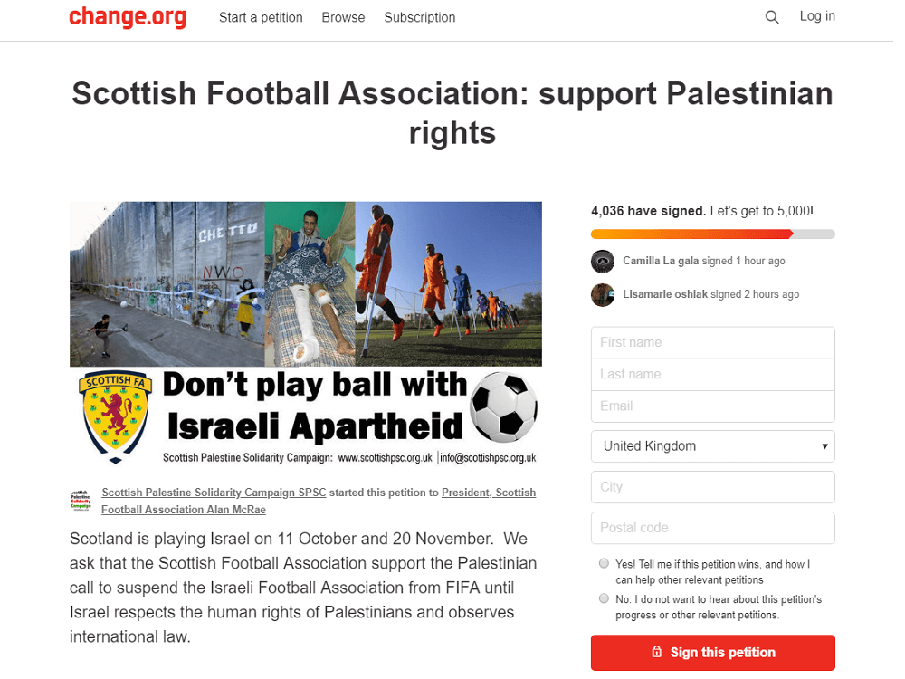 התאחדות הכדורגל הסקוטית לא נכנעה. עצומה של הקמפיין לסולידריות עם פלסטין להחרים את משחקי הכדורגל בין הנבחרות