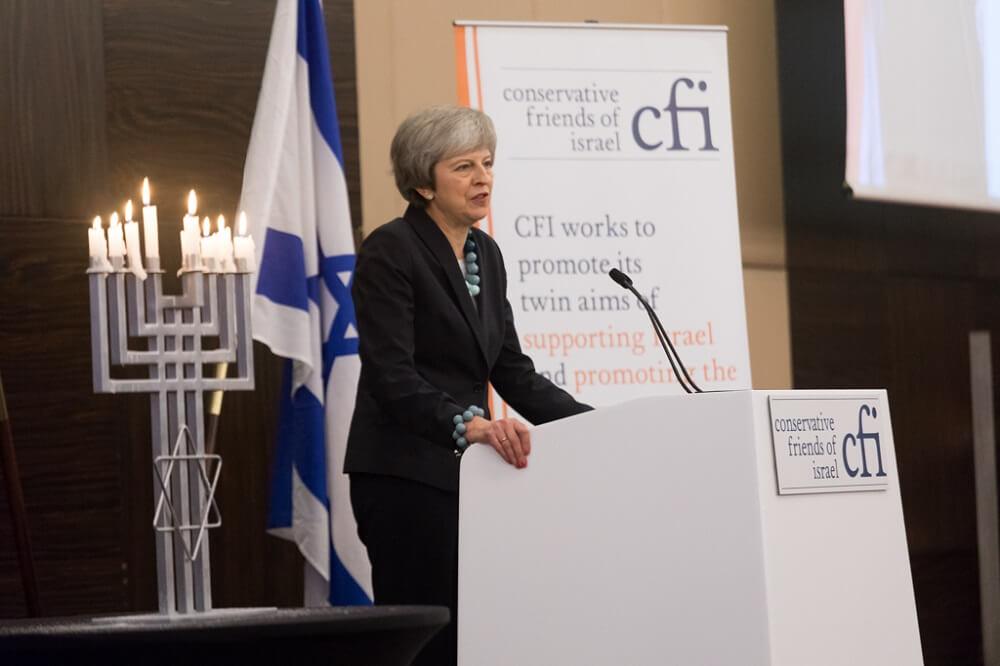 ראשת ממשלת בריטניה תרזה מיי באירוע בלונדון של ידידי ישראל במפלגה השמרנית